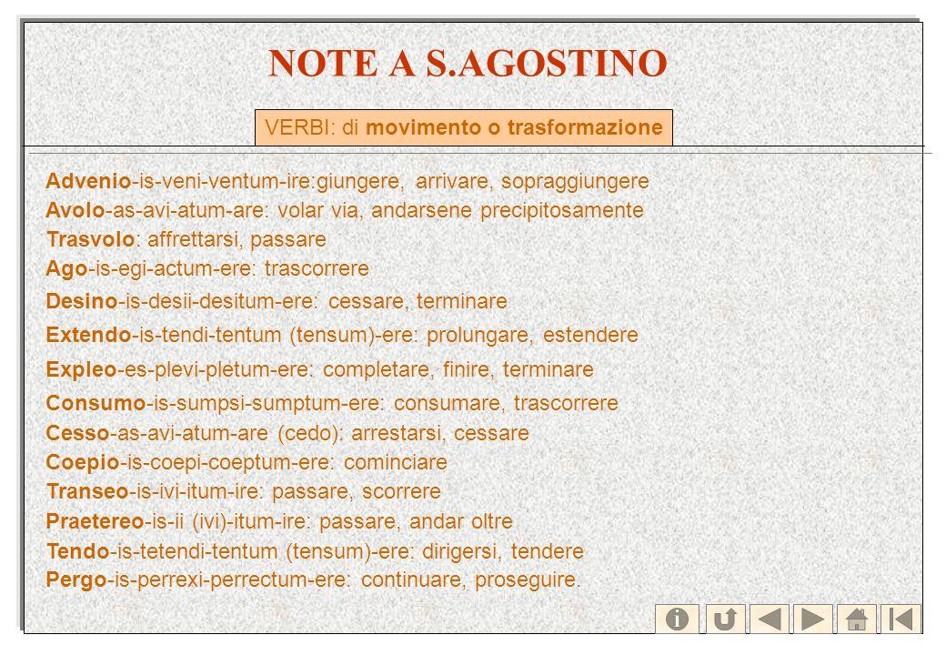 NOTE A S.AGOSTINO Advenio-is-veni-ventum-ire:giungere, arrivare, sopraggiungere Avolo-as-avi-atum-are: volar via, andarsene precipitosamente Trasvolo: