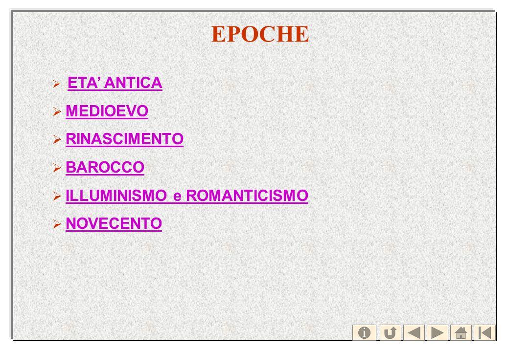 EPOCHE ETA ANTICA MEDIOEVO RINASCIMENTO BAROCCO ILLUMINISMO e ROMANTICISMO NOVECENTO