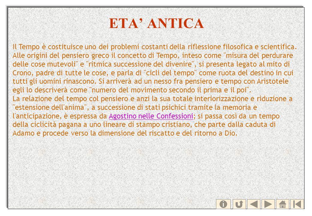 ETA ANTICA Il Tempo è costituisce uno dei problemi costanti della riflessione filosofica e scientifica. Alle origini del pensiero greco il concetto di