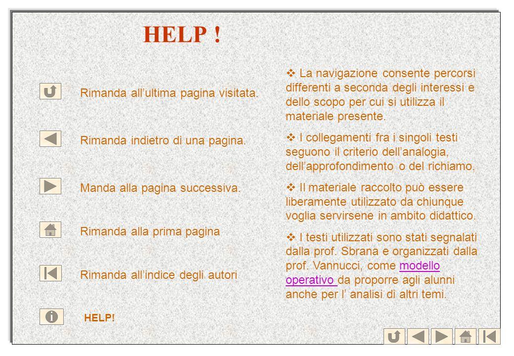 HELP ! Rimanda allultima pagina visitata. Rimanda indietro di una pagina. Manda alla pagina successiva. Rimanda alla prima pagina Rimanda allindice de