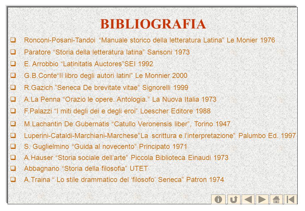 BIBLIOGRAFIA Ronconi-Posani-Tandoi Manuale storico della letteratura Latina Le Monier 1976 Paratore Storia della letteratura latina Sansoni 1973 E. Ar