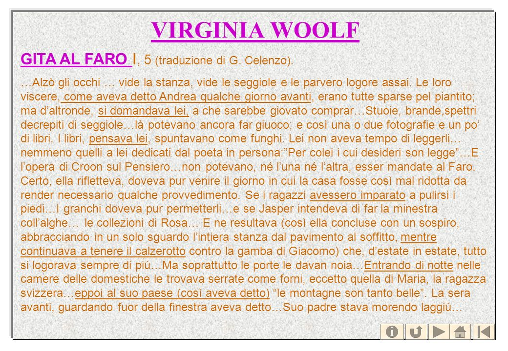 VIRGINIA WOOLF GITA AL FARO GITA AL FARO I, 5 (traduzione di G. Celenzo). …Alzò gli occhi … vide la stanza, vide le seggiole e le parvero logore assai