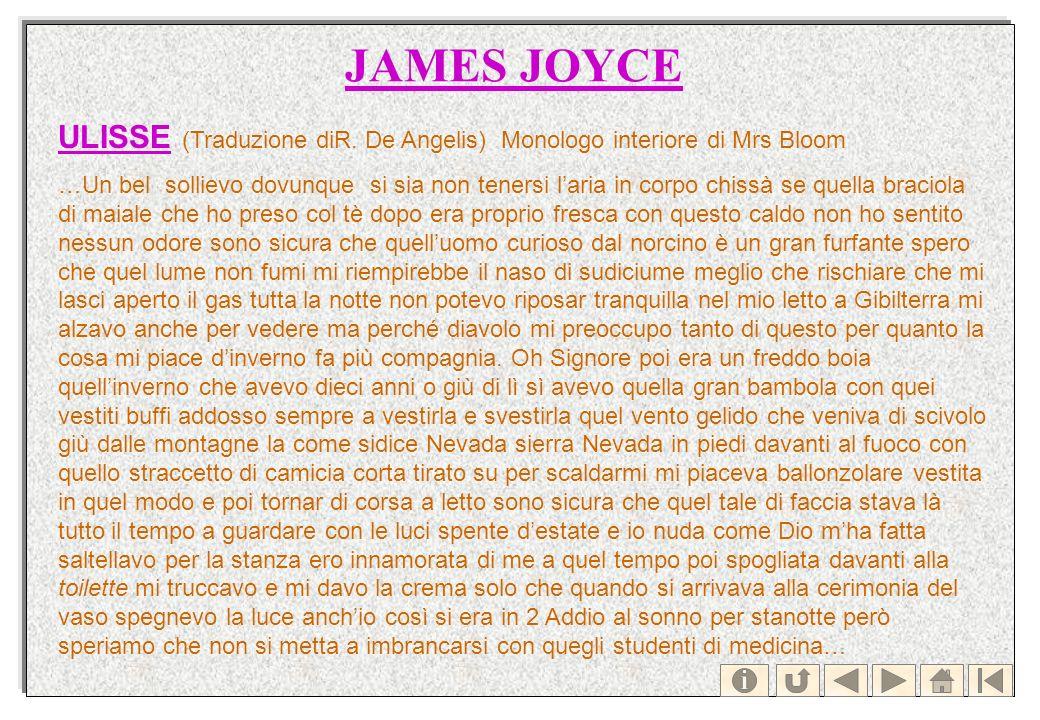 JAMES JOYCE ULISSEULISSE (Traduzione diR. De Angelis) Monologo interiore di Mrs Bloom …Un bel sollievo dovunque si sia non tenersi laria in corpo chis