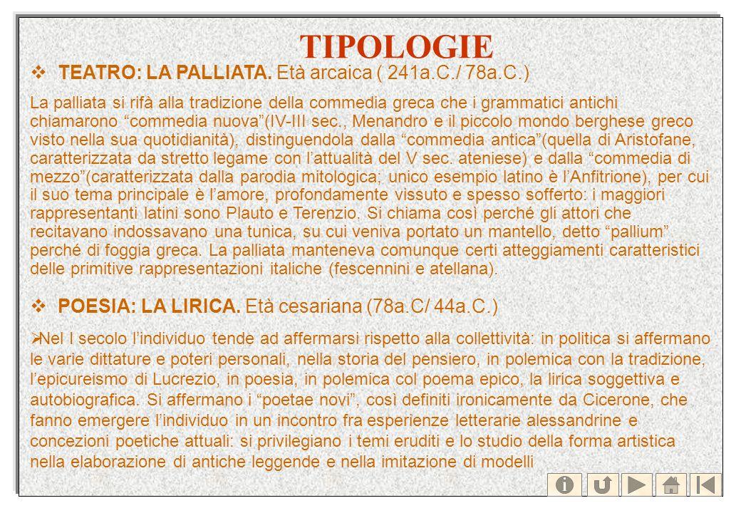 TIPOLOGIE TEATRO: LA PALLIATA. Età arcaica ( 241a.C./ 78a.C.) La palliata si rifà alla tradizione della commedia greca che i grammatici antichi chiama