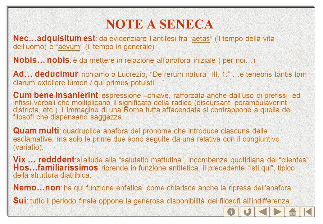 NOTE A SENECA Nec…adquisitum est : da evidenziare lantitesi fra aetas (il tempo della vita delluomo) e aevum (il tempo in generale) Nobis… nobis : è d