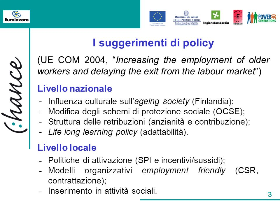 3 I suggerimenti di policy (UE COM 2004, Increasing the employment of older workers and delaying the exit from the labour market) Livello nazionale Li