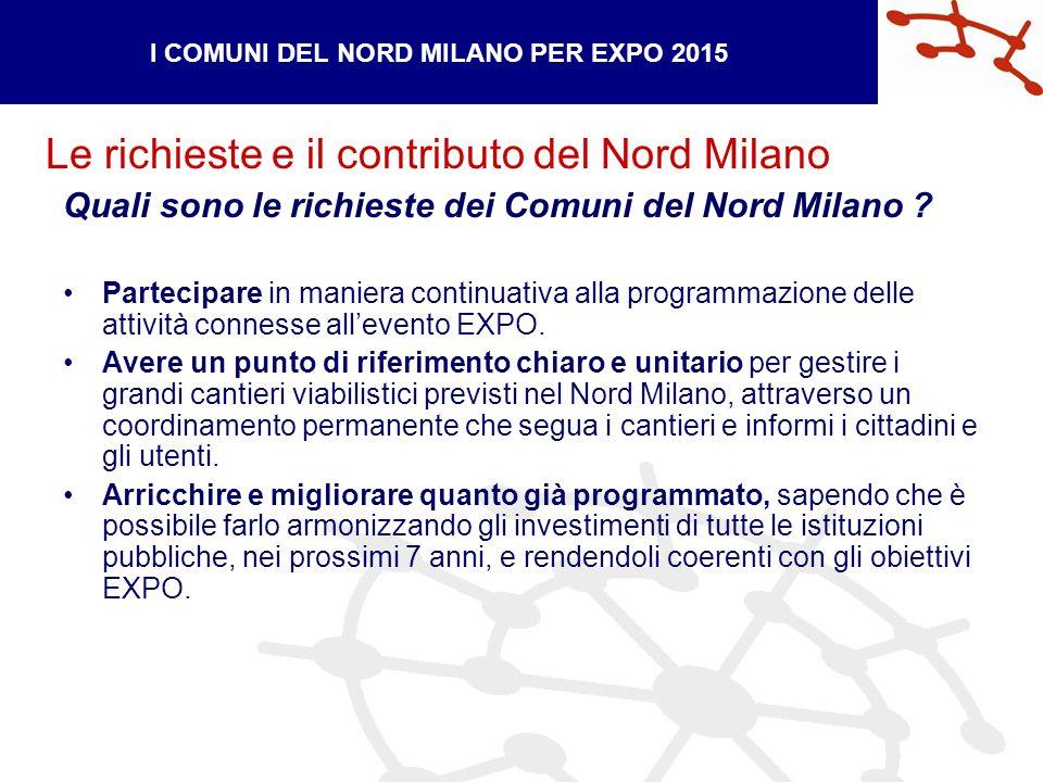 Le richieste e il contributo del Nord Milano I COMUNI DEL NORD MILANO PER EXPO 2015 Quali sono le richieste dei Comuni del Nord Milano .