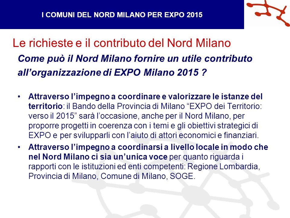 Le richieste e il contributo del Nord Milano I COMUNI DEL NORD MILANO PER EXPO 2015 Come può il Nord Milano fornire un utile contributo allorganizzazione di EXPO Milano 2015 .