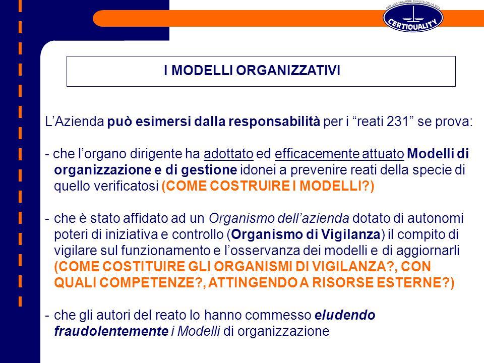 LAzienda può esimersi dalla responsabilità per i reati 231 se prova: - che lorgano dirigente ha adottato ed efficacemente attuato Modelli di organizza