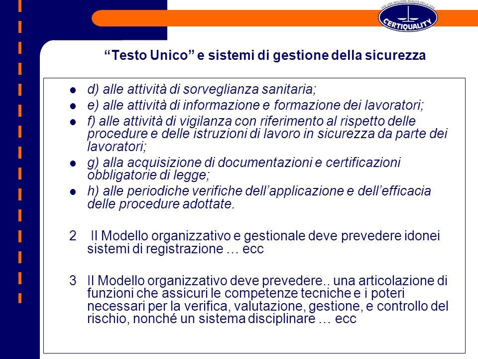 Testo Unico e sistemi di gestione della sicurezza d) alle attività di sorveglianza sanitaria; e) alle attività di informazione e formazione dei lavora
