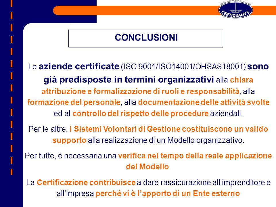 Le aziende certificate (ISO 9001/ISO14001/OHSAS18001) sono già predisposte in termini organizzativi alla chiara attribuzione e formalizzazione di ruol