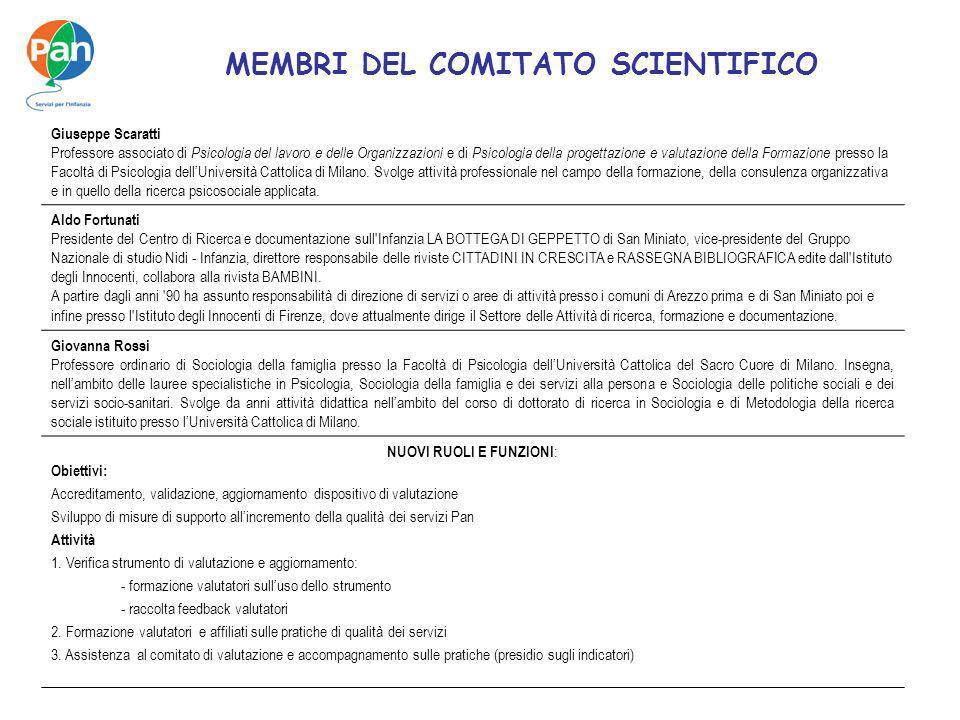 MEMBRI DEL COMITATO SCIENTIFICO Giuseppe Scaratti Professore associato di Psicologia del lavoro e delle Organizzazioni e di Psicologia della progettaz