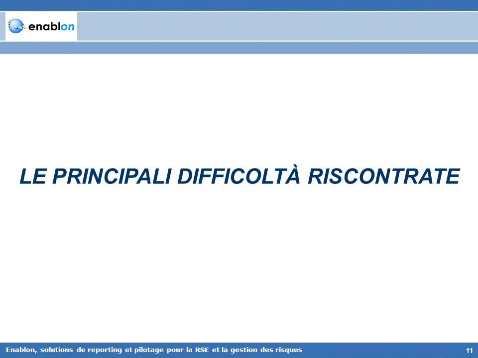 11 Enablon, solutions de reporting et pilotage pour la RSE et la gestion des risques LE PRINCIPALI DIFFICOLTÀ RISCONTRATE