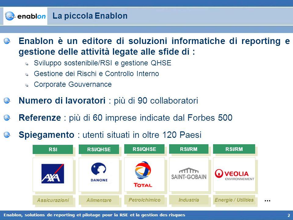 2 Enablon, solutions de reporting et pilotage pour la RSE et la gestion des risques La piccola Enablon Enablon è un editore di soluzioni informatiche