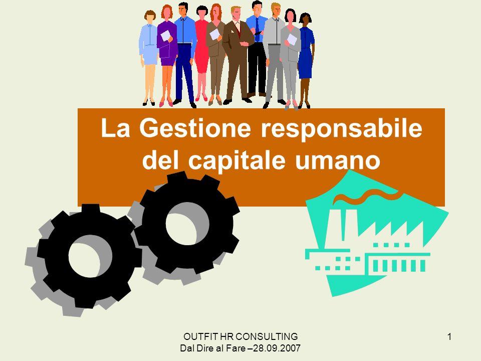 OUTFIT HR CONSULTING Dal Dire al Fare –28.09.2007 1 La Gestione responsabile del capitale umano