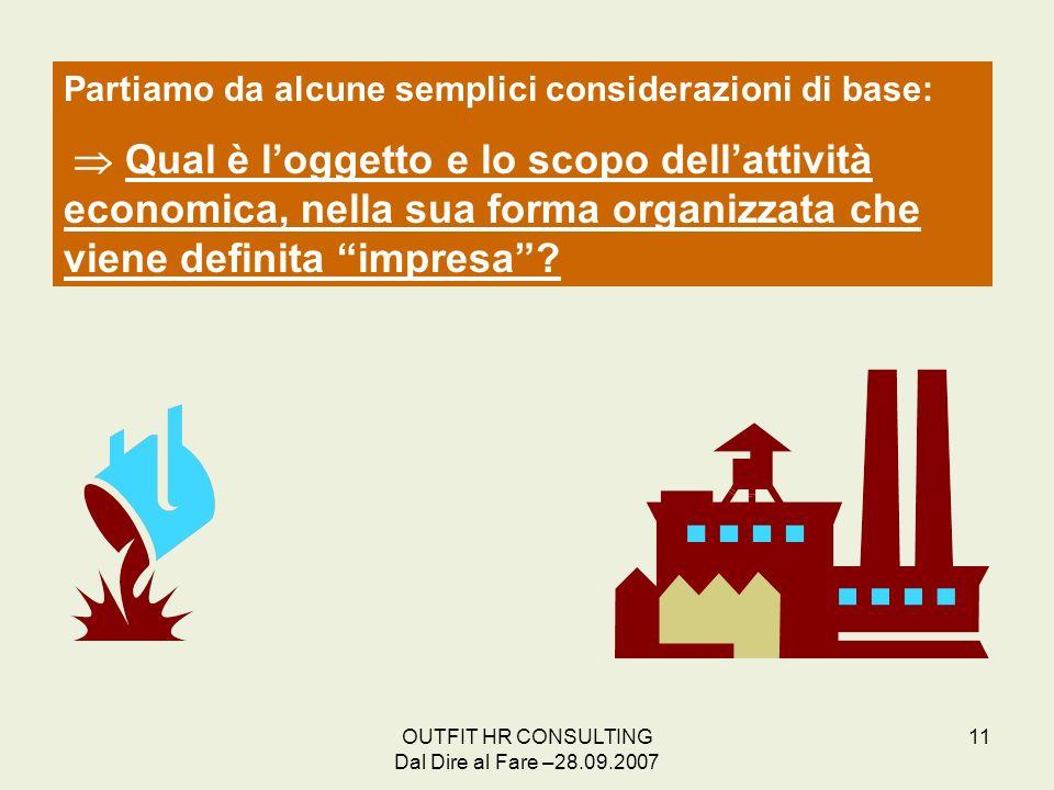 OUTFIT HR CONSULTING Dal Dire al Fare –28.09.2007 11 Partiamo da alcune semplici considerazioni di base: Qual è loggetto e lo scopo dellattività econo