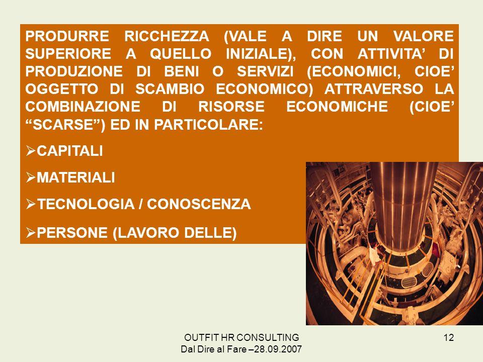OUTFIT HR CONSULTING Dal Dire al Fare –28.09.2007 12 PRODURRE RICCHEZZA (VALE A DIRE UN VALORE SUPERIORE A QUELLO INIZIALE), CON ATTIVITA DI PRODUZION