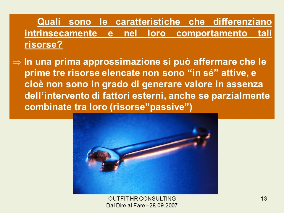OUTFIT HR CONSULTING Dal Dire al Fare –28.09.2007 13 Quali sono le caratteristiche che differenziano intrinsecamente e nel loro comportamento tali ris