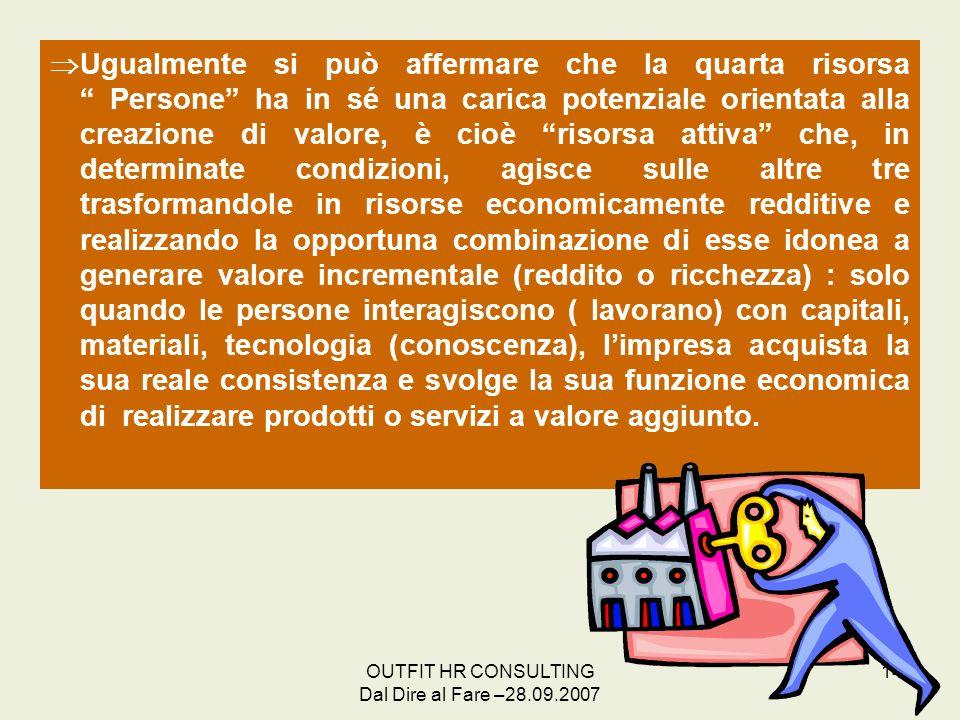 OUTFIT HR CONSULTING Dal Dire al Fare –28.09.2007 14 Ugualmente si può affermare che la quarta risorsa Persone ha in sé una carica potenziale orientat