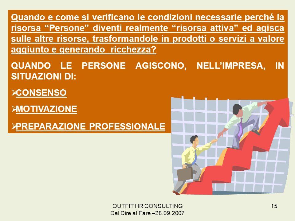 OUTFIT HR CONSULTING Dal Dire al Fare –28.09.2007 15 Quando e come si verificano le condizioni necessarie perché la risorsa Persone diventi realmente