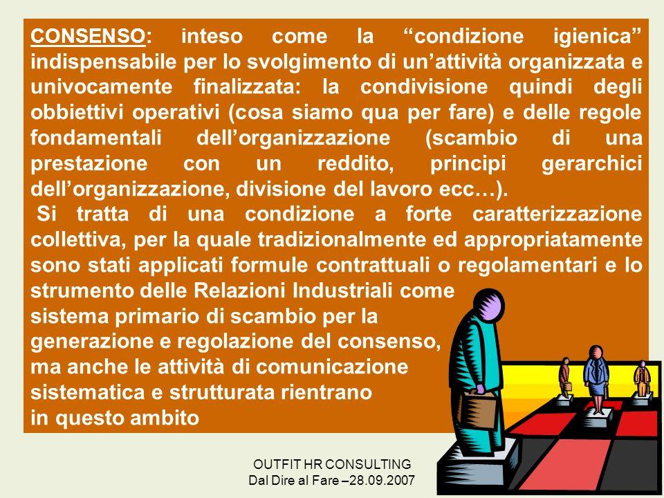 OUTFIT HR CONSULTING Dal Dire al Fare –28.09.2007 16 CONSENSO: i nteso come la condizione igienica indispensabile per lo svolgimento di unattività org