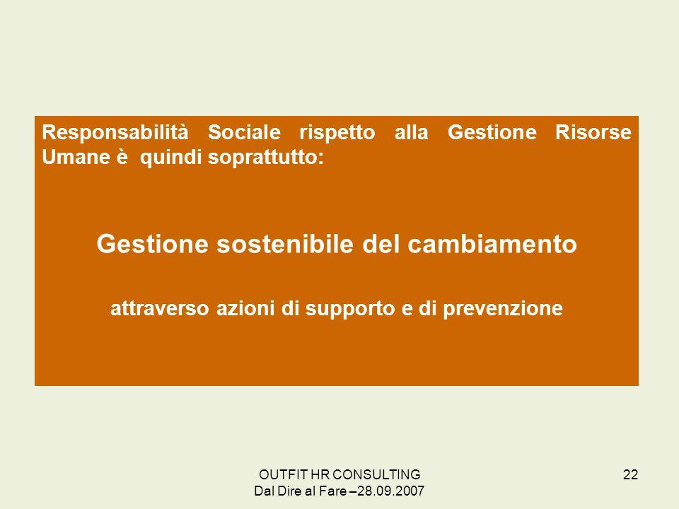 OUTFIT HR CONSULTING Dal Dire al Fare –28.09.2007 22 Responsabilità Sociale rispetto alla Gestione Risorse Umane è quindi soprattutto: Gestione sosten