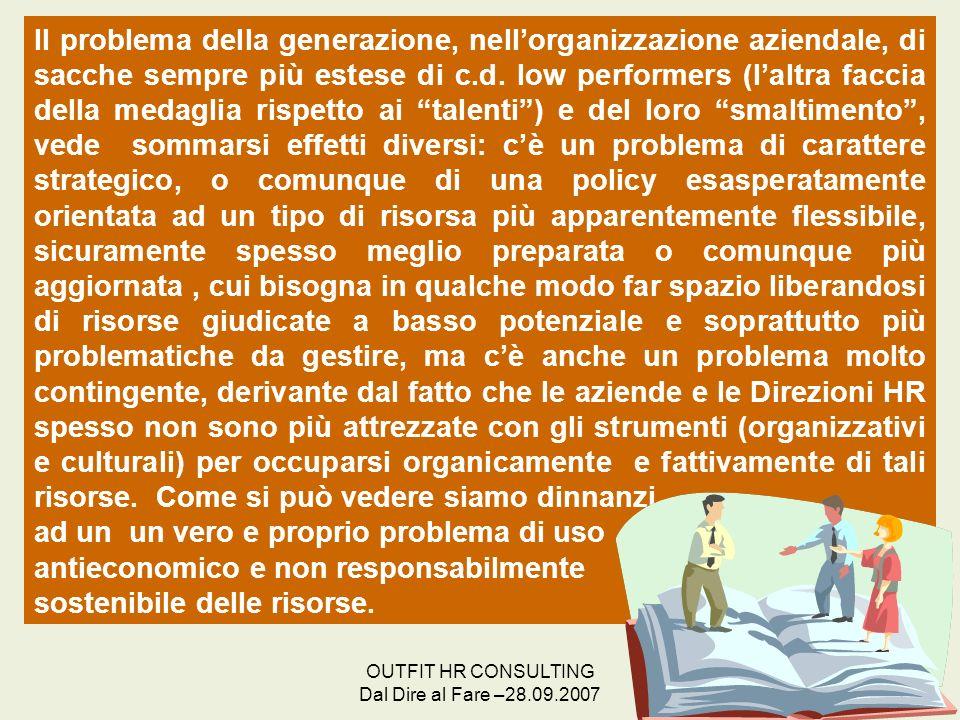 OUTFIT HR CONSULTING Dal Dire al Fare –28.09.2007 28 Il problema della generazione, nellorganizzazione aziendale, di sacche sempre più estese di c.d.