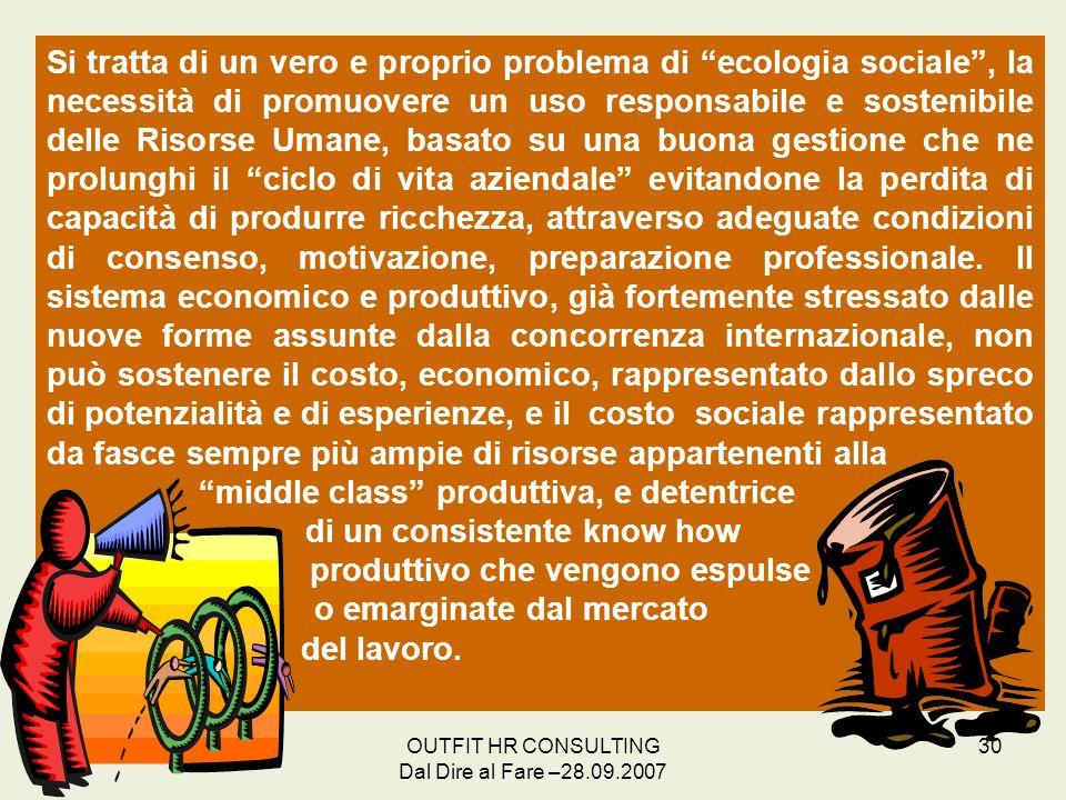 OUTFIT HR CONSULTING Dal Dire al Fare –28.09.2007 30 Si tratta di un vero e proprio problema di ecologia sociale, la necessità di promuovere un uso re