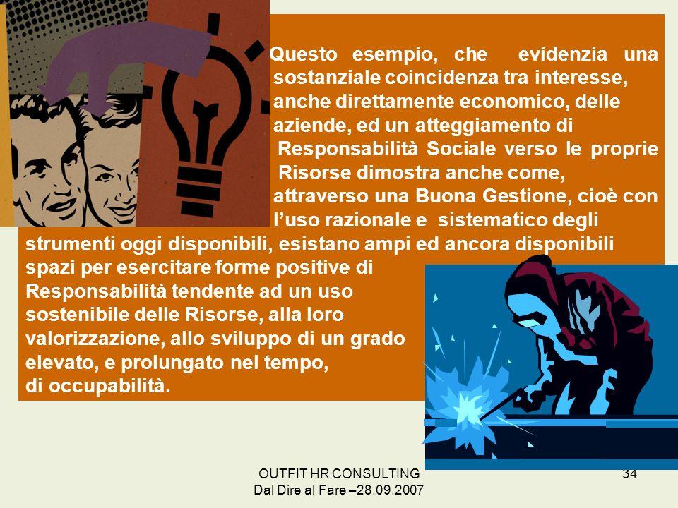 OUTFIT HR CONSULTING Dal Dire al Fare –28.09.2007 34 Questo esempio, che evidenzia una sostanziale coincidenza tra interesse, anche direttamente econo