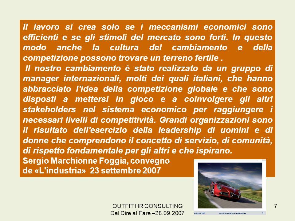 OUTFIT HR CONSULTING Dal Dire al Fare –28.09.2007 7 Il lavoro si crea solo se i meccanismi economici sono efficienti e se gli stimoli del mercato sono