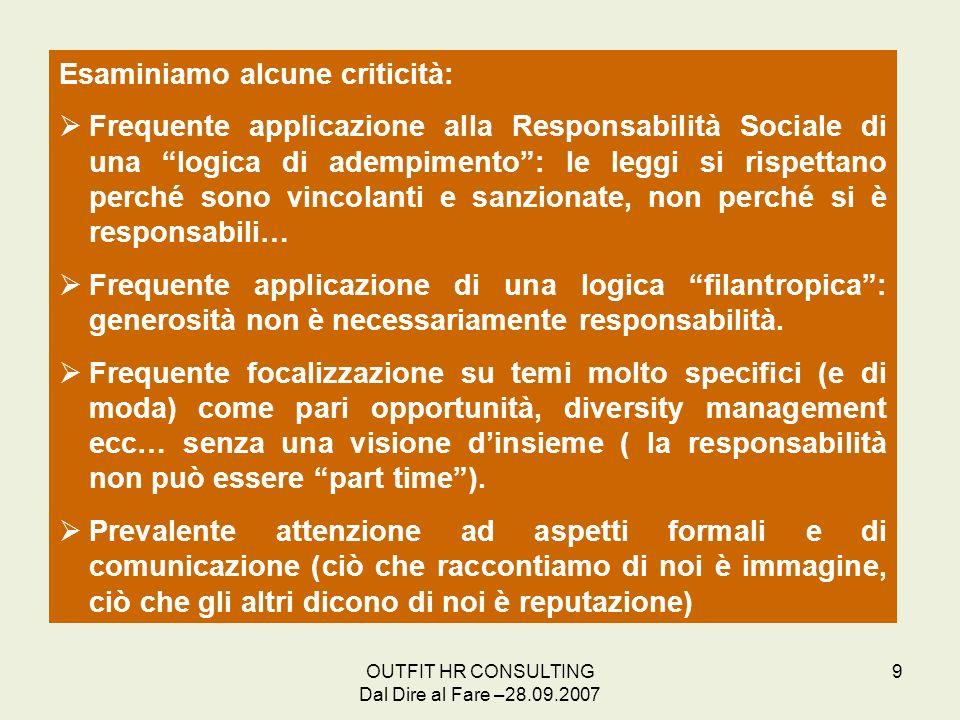 OUTFIT HR CONSULTING Dal Dire al Fare –28.09.2007 9 Esaminiamo alcune criticità: Frequente applicazione alla Responsabilità Sociale di una logica di a