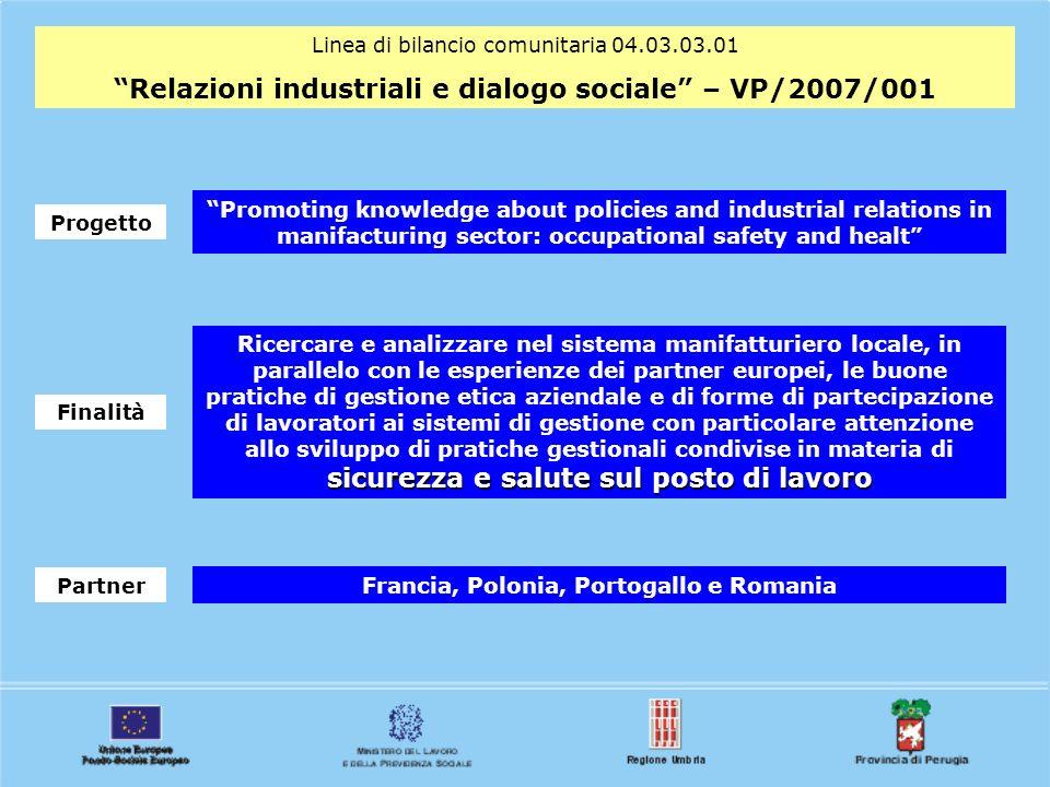 Linea di bilancio comunitaria 04.03.03.01 Relazioni industriali e dialogo sociale – VP/2007/001 Progetto Promoting knowledge about policies and indust