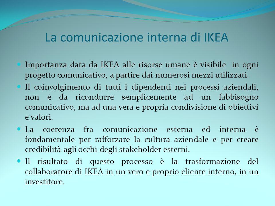 La comunicazione interna di IKEA Importanza data da IKEA alle risorse umane è visibile in ogni progetto comunicativo, a partire dai numerosi mezzi uti