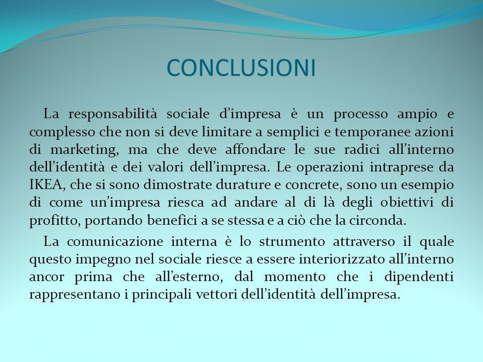 CONCLUSIONI La responsabilità sociale dimpresa è un processo ampio e complesso che non si deve limitare a semplici e temporanee azioni di marketing, m