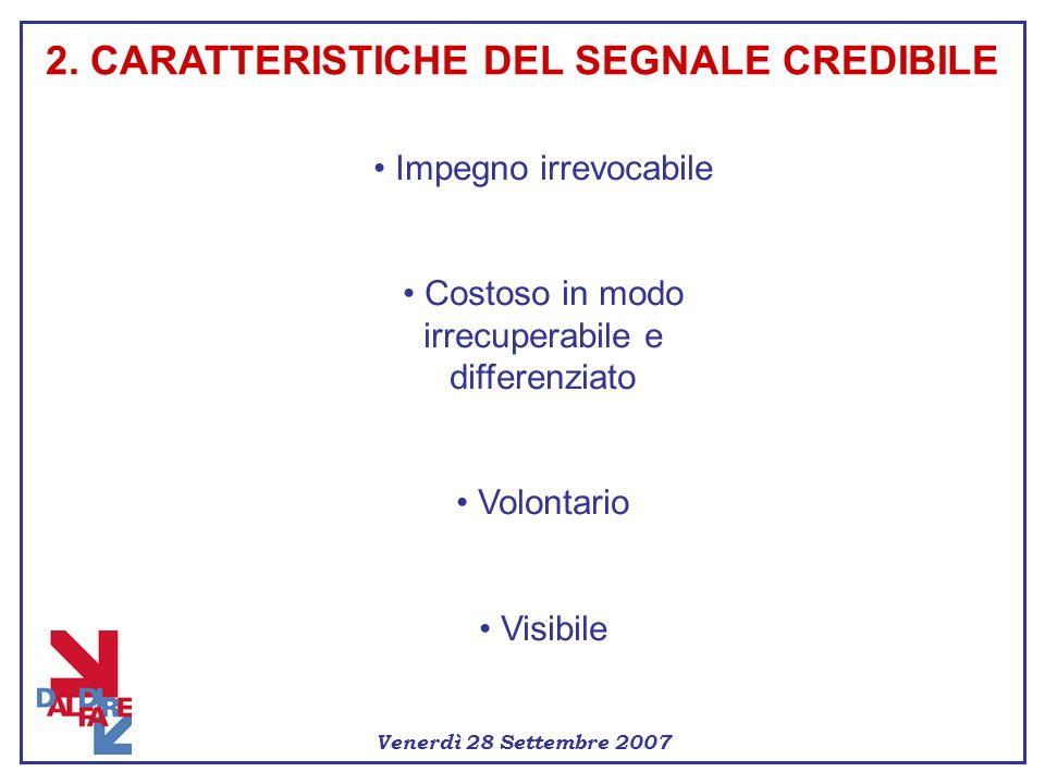 Venerdì 28 Settembre 2007 Impegno irrevocabile Costoso in modo irrecuperabile e differenziato Volontario Visibile 2. CARATTERISTICHE DEL SEGNALE CREDI