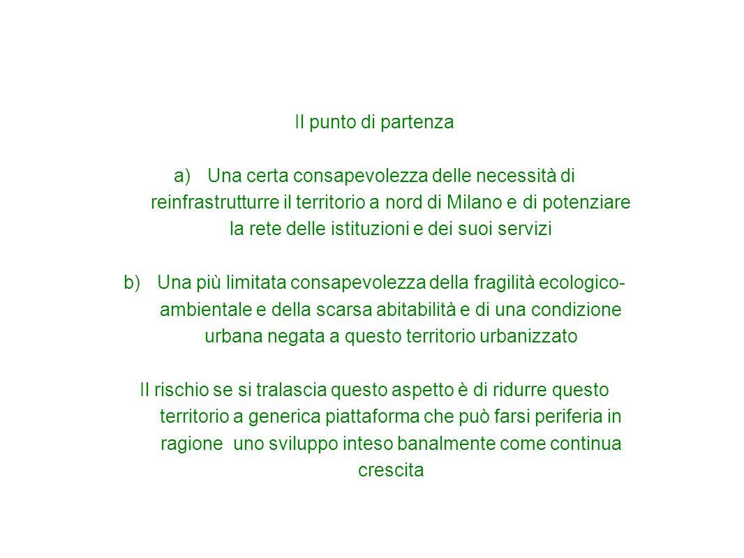 Il punto di partenza a)Una certa consapevolezza delle necessità di reinfrastrutturre il territorio a nord di Milano e di potenziare la rete delle isti