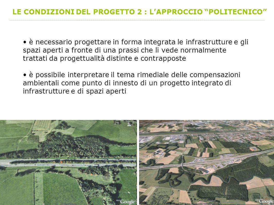 LE CONDIZIONI DEL PROGETTO 2 : LAPPROCCIO POLITECNICO è necessario progettare in forma integrata le infrastrutture e gli spazi aperti a fronte di una