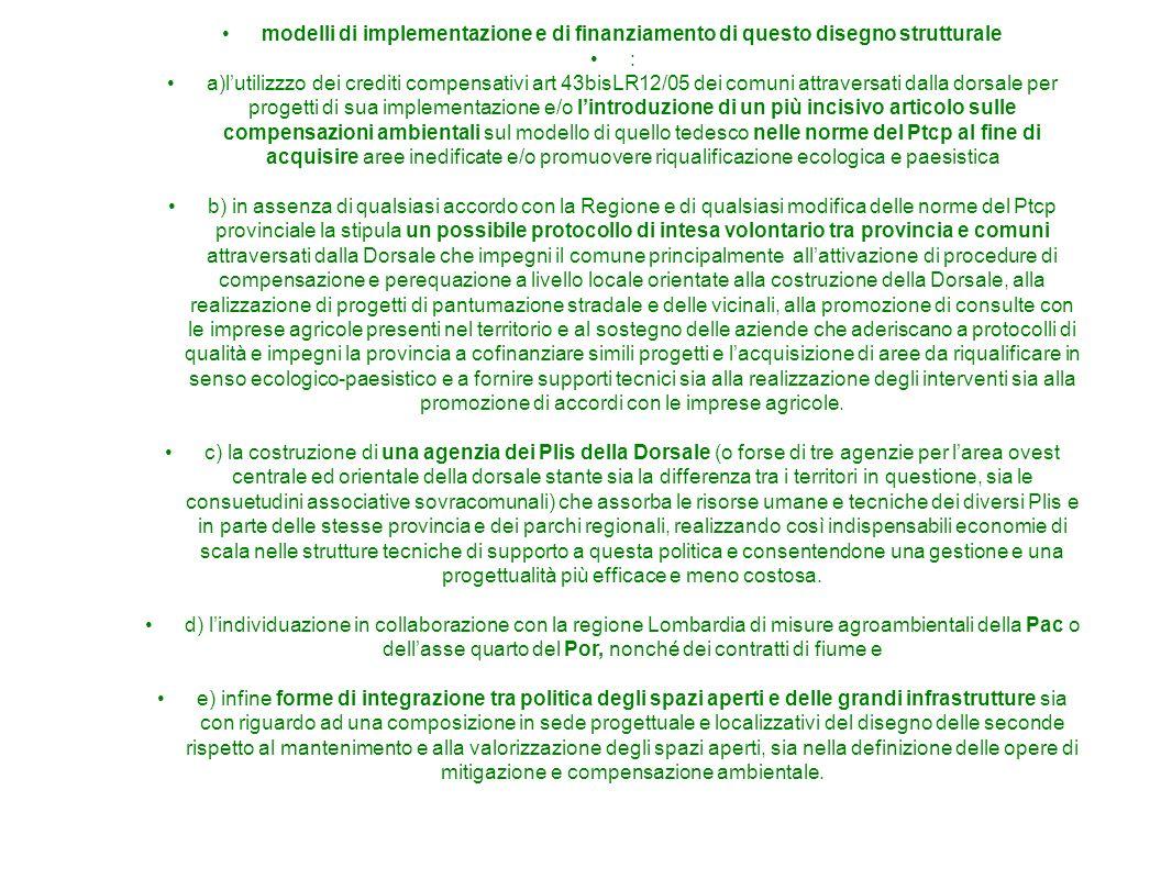 modelli di implementazione e di finanziamento di questo disegno strutturale : a)lutilizzzo dei crediti compensativi art 43bisLR12/05 dei comuni attrav