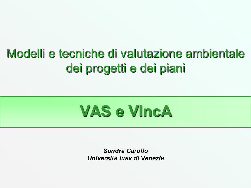 Modelli e tecniche di valutazione ambientale dei progetti e dei piani VAS e VIncA Modelli e tecniche di valutazione ambientale dei progetti e dei pian