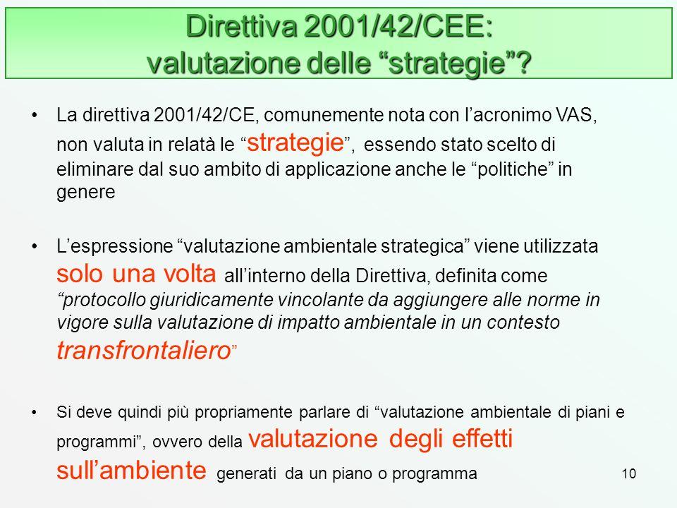 10 Direttiva 2001/42/CEE: valutazione delle strategie? La direttiva 2001/42/CE, comunemente nota con lacronimo VAS, non valuta in relatà le strategie,