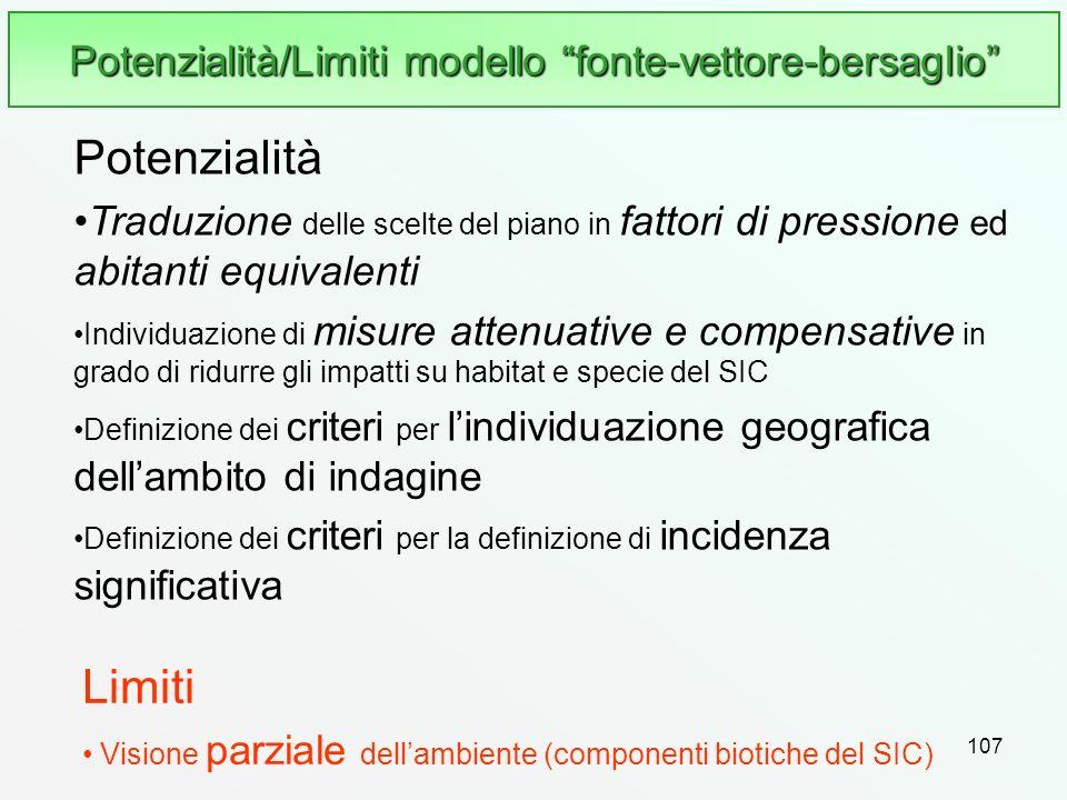 107 Potenzialità/Limiti modello fonte-vettore-bersaglio Limiti Visione parziale dellambiente (componenti biotiche del SIC) Potenzialità Traduzione del