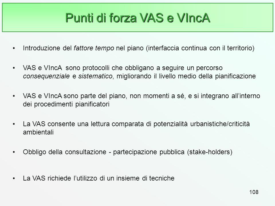 108 Punti di forza VAS e VIncA Introduzione del fattore tempo nel piano (interfaccia continua con il territorio) VAS e VIncA sono protocolli che obbli