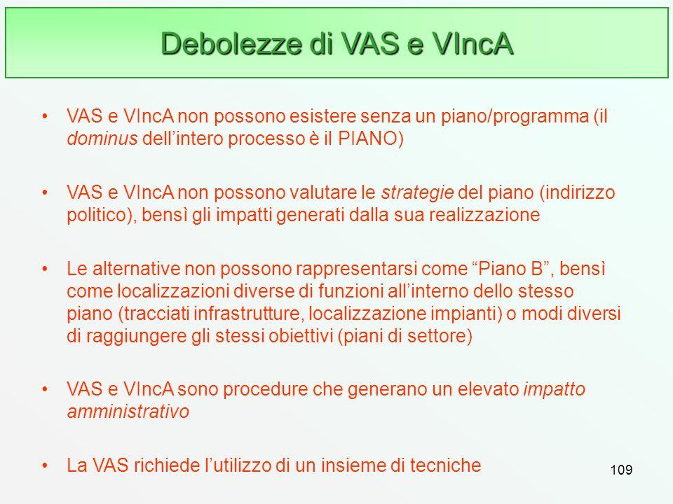 109 Debolezze di VAS e VIncA VAS e VIncA non possono esistere senza un piano/programma (il dominus dellintero processo è il PIANO) VAS e VIncA non pos