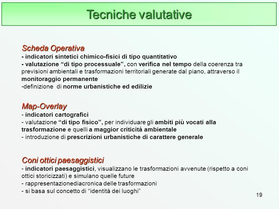 19 Tecniche valutative Scheda Operativa Scheda Operativa - indicatori sintetici chimico-fisici di tipo quantitativo - valutazione di tipo processuale,