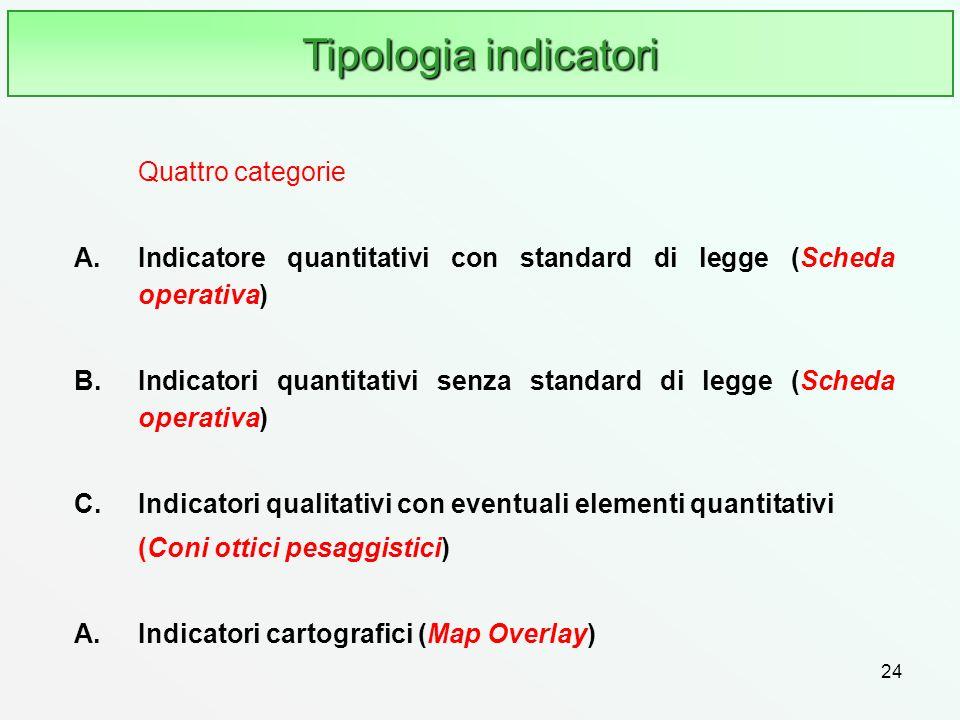 24 Tipologia indicatori Quattro categorie A.Indicatore quantitativi con standard di legge (Scheda operativa) B.Indicatori quantitativi senza standard