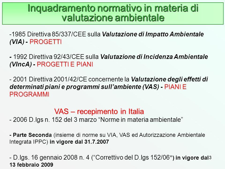 3 Inquadramento normativo in materia di valutazione ambientale PROGETTI PROGETTI E PIANI PIANI E PROGRAMMI -1985 Direttiva 85/337/CEE sulla Valutazion