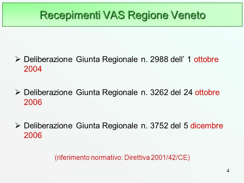 4 Recepimenti VAS Regione Veneto Deliberazione Giunta Regionale n. 2988 dell 1 ottobre 2004 Deliberazione Giunta Regionale n. 3262 del 24 ottobre 2006