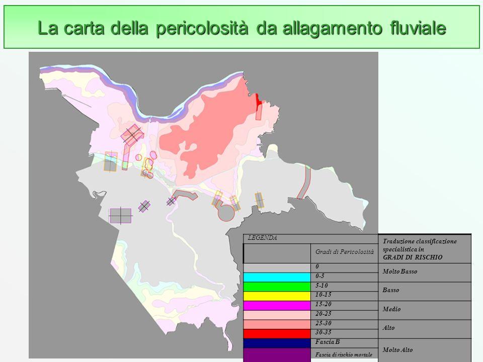 47 La carta della pericolosità da allagamento fluviale LEGENDA Traduzione classificazione specialistica in GRADI DI RISCHIO Gradi di Pericolosità 0 Mo