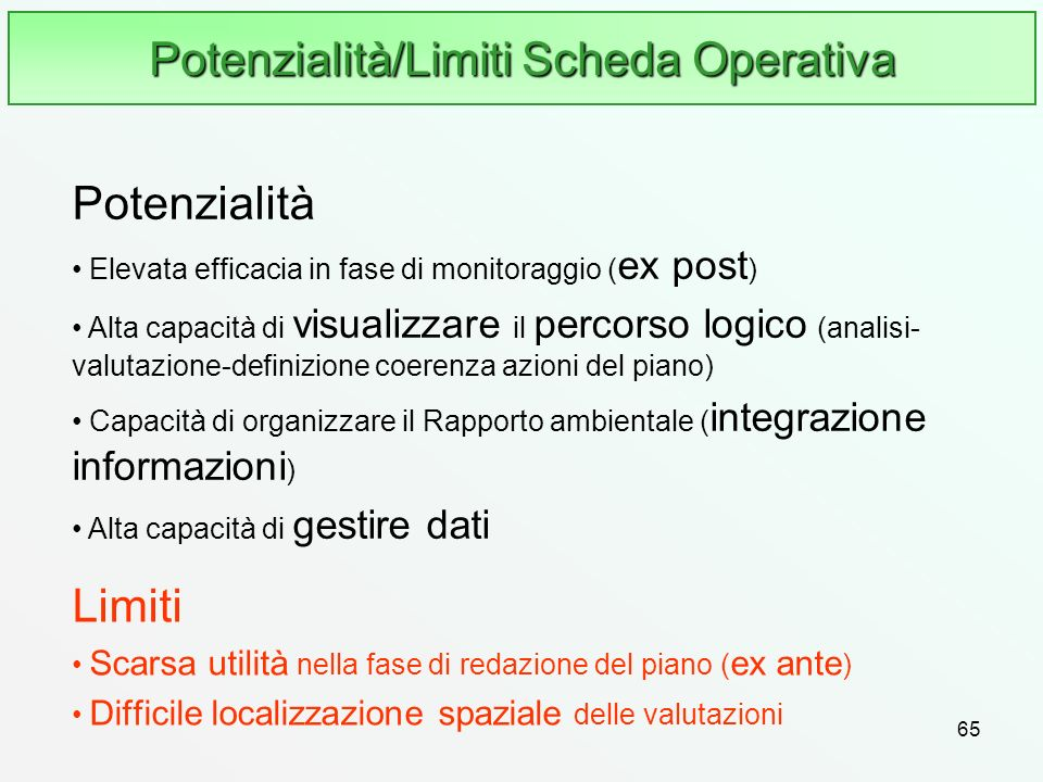 65 Potenzialità/Limiti Scheda Operativa Limiti Scarsa utilità nella fase di redazione del piano ( ex ante ) Difficile localizzazione spaziale delle va