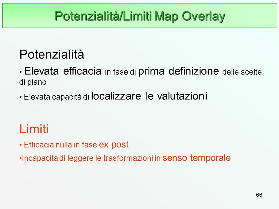 66 Potenzialità/Limiti Map Overlay Limiti Efficacia nulla in fase ex post Incapacità di leggere le trasformazioni in senso temporale Potenzialità Elev